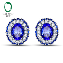 Caimao Jewelry 14k White Gold 2.08ct Violetish Blue Tanzanite Natural Diamond & Sapphires Engagement Earrings Stud(China)