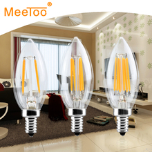 E14 Dimmable C35 LED Filament Lamp 2W 4W 6W Glass Bulb Light Equivalent 20W 40W 60W Halogen Lights Chandelier Lighting 220V 110V(China)