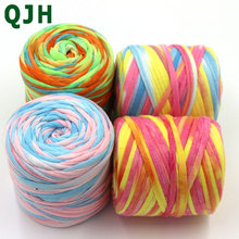 Soft Thick Yarn For Knitting Diy Bag Cushion Carpet Handbag 6-8mm Crochet Woven Striped Cloth t-shirt Fancy Yarn 150g 45meters