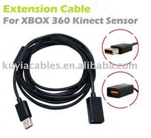 Free Shipping+2pcs/lot+High Quality 3m SENSOR Extension Cable Cord for Xbox 360 Slim Kinect Sensor
