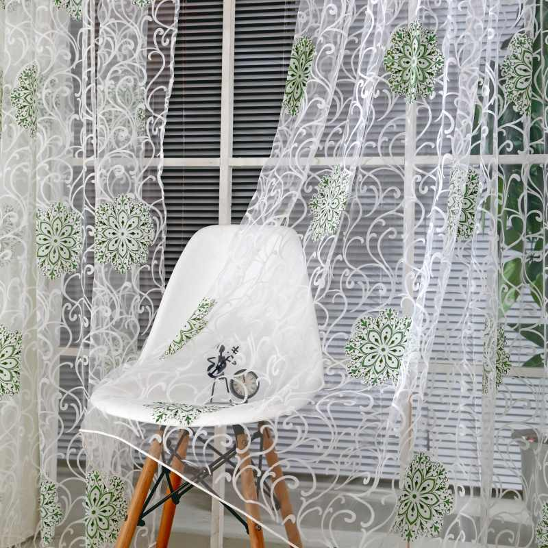 3 Colors 95cm x 200cm Room Floral Tulle Window Screening Curtain Drape Panel Decal Scarf Curd Valances Curtains