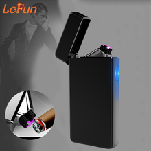 Double Arc Windproof Plasma Cigar Cigarette Lighter New Design Pipe USB Charging Flameless Electronic Pulsed Smoking Lighters