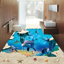 New Designs 3D Floor Wallpaper Can Custom Amazing Living Room Bathroom Waterproof 3D Stereoscopic Floor Wallpaper