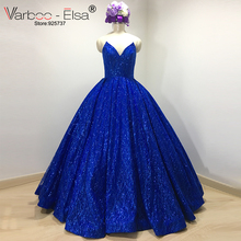 luxuary Real Photo Sexy V Design Long Royal Blue Evening Dresses 2017 Strapless Sequined Party Gown Vestido De Festa Plus Size(China)
