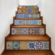 6pcs Geometric Pattern Self-Adhesive Staircase Sticker Wall Decal Waterproof Vinyl Sticker Stairs Design Art Staircase Decor