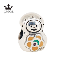 Original Babushka Charm Fits Pandora Bracelet Authentic 925 Sterling Silver Russia Girl Doll With Orange Enamel Bead DIY Jewelry