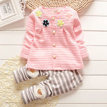 New baby autumn clothes for the baby cute cartoon Pattern T-shirt + trousers cotton clothing,fashion Baby Girl Suit Baby Clothes(China)