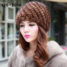 Mink Fur Hat For Women Winter Hats Fashion Lined 2017 Natural Fur Female Cap Knitted New Caps Pineapple Real Mink Fur Hat