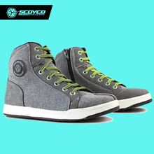 Original SCOYCO Motorcycle Boots Men Grey Casual Fashion Wear Shoes Breathable Anti-skid Protection Gear Botas De Motociclista