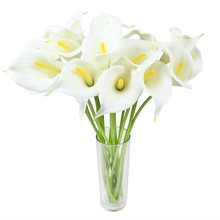 Real Touch Artificial Flower Calla Lily Artificial Flowers for Wedding Decoration Event Party SuppliesWhite yellow heart)