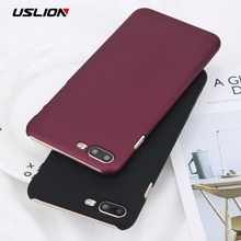 USLION Phone Case For iPhone 6 6s Plus Simple Wine Red Color Matte Cases Frosted Hard PC Cover For iPhone X 8 7 6S Plus 5 5s SE(China)