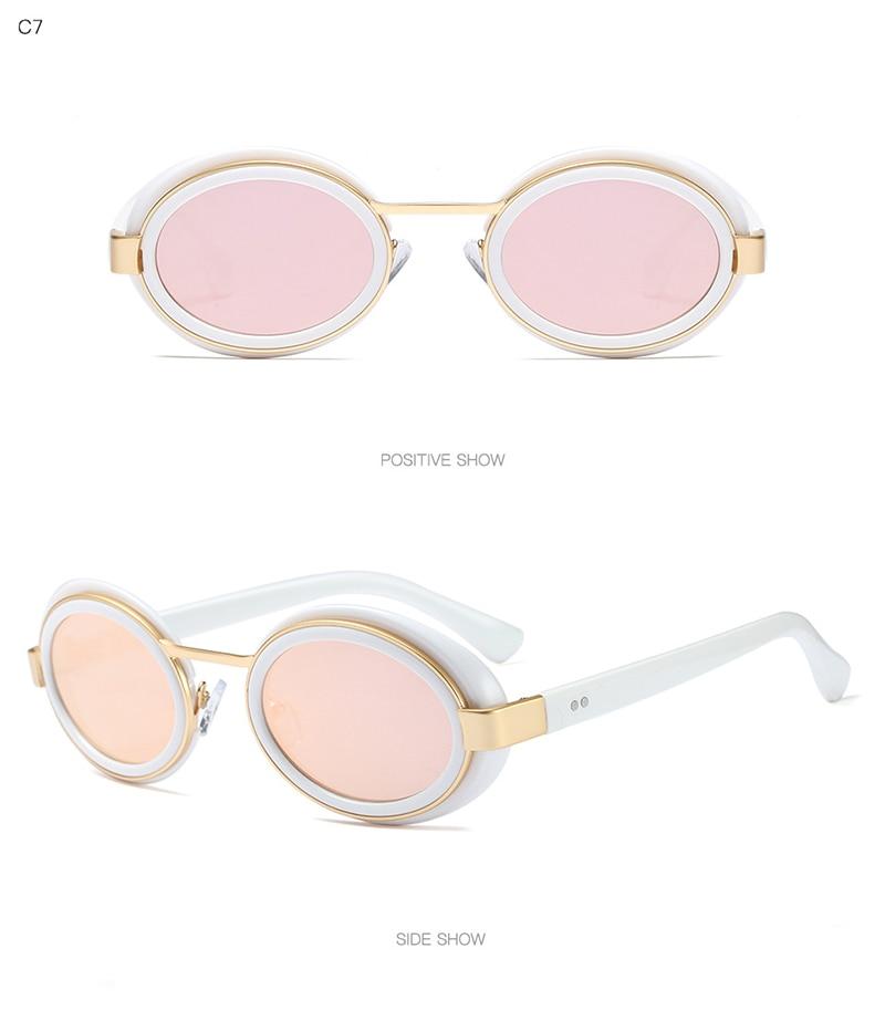 BAMONA Women Sunglasses Retro Oval Glasses Frame Brand Design Black Sun Glasses Punk Ladies Driving gafas de sol mujer