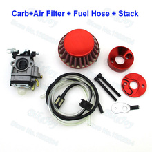 33cc Carb + 44mm Air Filter & Velocity Stack & Fuel Hose Carby Carburetor For 33cc 43cc 49cc Gas Scooter Skateboard
