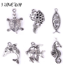 Buy Fish Tortoise Dragon Frog Hippocampus Animal Metal Charms Pendant Antique Silver Gold Color Charms Pendant Jewelry Making for $1.46 in AliExpress store
