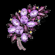 Luxury  high quality Silver Color Plant Shape Austria Crystal Pendant Pin Brooches Women Costume Jewelry Brooch Wedding Bouquet