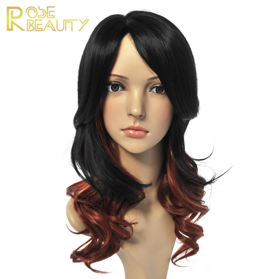 Hot Sale Long wave wig brown/black ombre  ladies parrucca synthetic hair wig heat resistant  fibre anime cosplay wig peruca<br><br>Aliexpress