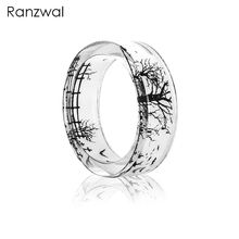 Ranzwal Novelty Transparent Resin Rings for Women Ink Painting Tree Dandelion Jellyfish Inside Finger Ring 6 Styles ARI209(China)