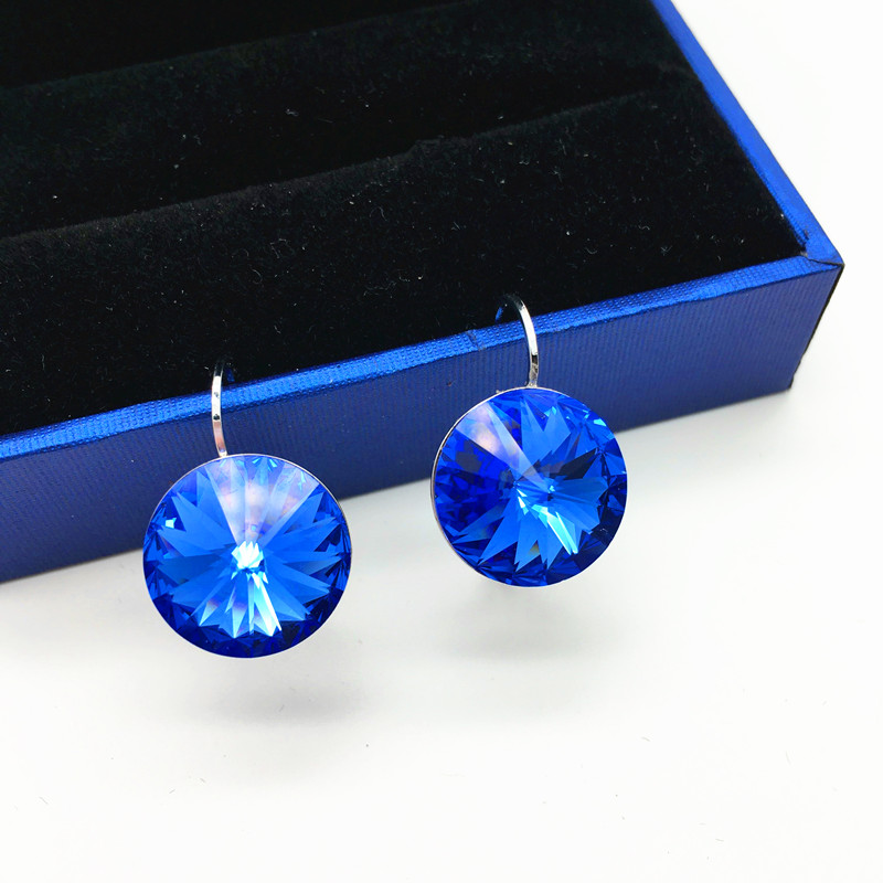 Ms betti 2018 simple Design hot rivori 1122 14mm round blue stone drop earrings with French hook made with Swarovski elements