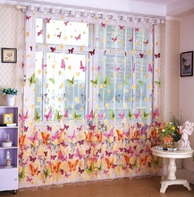 home Textile butterfly Chinese luxury 3D Window Curtainsprinted  fabric Tulle Sheer Curtains for bedroom living room