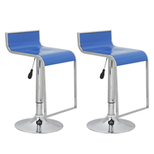 2 pieces Blue Bar Stool With Low Backrest Plastic Abs Bar Chair For Drinking Ship From ES