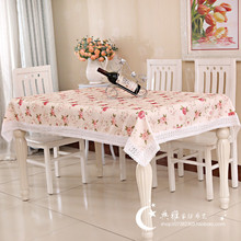 Garden fresh vintage country tablecloth Restaurant wedding fabric court peony flower rose khaki lace beige Multisize table cover