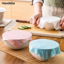 Haodeba New Multi-functional Silicone Saran Wrap Reusable Cling Film Refrigerator Food Storage Cover Kitchen Vacuum Lid Sealer
