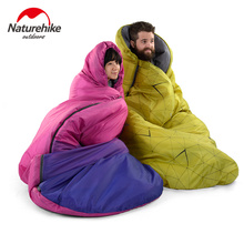 Brand Naturehike FREE SHIPPING New ultralight camping sleeping bag envelope hooded outdoor cotton large space sleeping bags