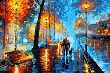 Frameless diy Abstract landscape Night walk painting by numbers picture oil painting set on canvas for wall decor hand oil paint