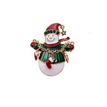 Christmas Snowman Gold-colors Costume Brooch Cheap Red Rhinestone Christmas Brooches Lot Collar Clip For Scarf Buckle