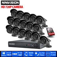 16CH cctv system 720p AHD kit 1280*720 1.0mp 2000TVL outdoor indoor waterproof cctv hd camera surveillance camera system