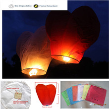 Heart shape 5pcs/lot sky lanterns with rope attach cotton fuel flame resistant paper wedding/party decoration free shipping