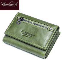 Contact's Genuine Leather Women Wallets 2018 New Design Fashion Female Purse Trifold Zipper Cash Photo Holder Wallet For Woman(China)