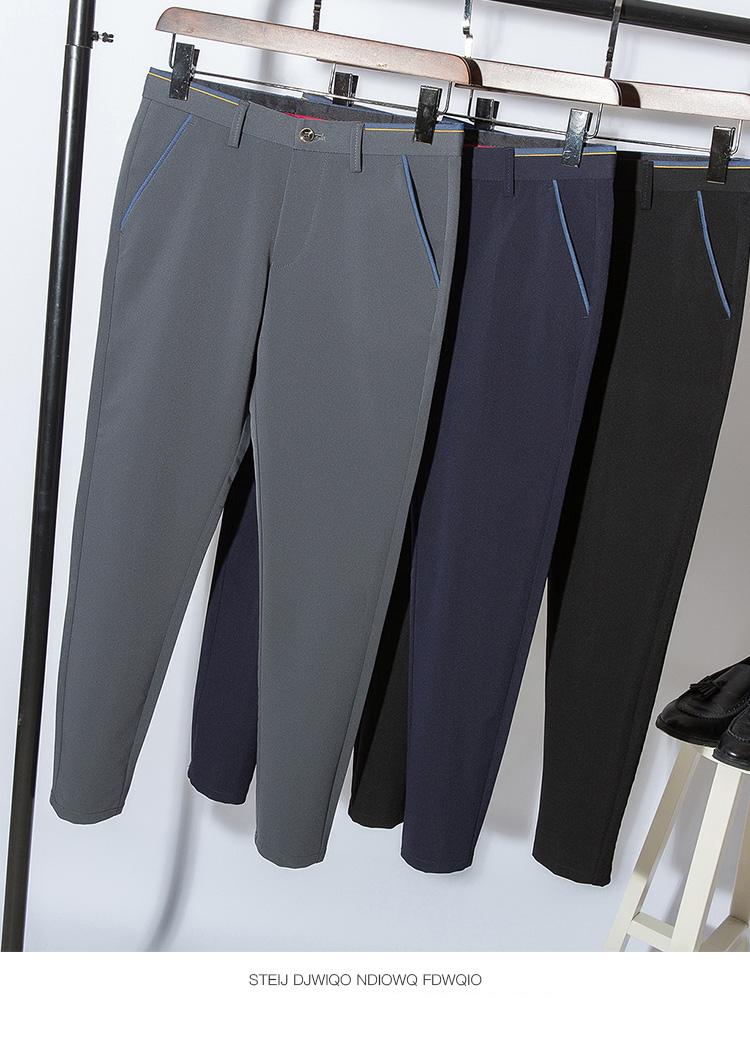 2018 Pring Summer Brand Clothing Men Casual Pants Business Slim Fit Elastic Ankle-length Pants Men's Skinny Pants Men Trousers 15