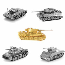 3D Metal puzzle 3D laser cut model 3D jigsaws DIY Gift Tank Series contain Tiger/Japan 97/T-34/M4 medium 3D nano puzzle