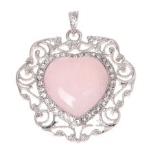 Heart Rose Quartz Pendant Bead Charm for Necklace Fashion(China)