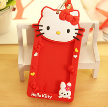Kawaii Hello Kitty Neck Hanging 14*8CM Kid's BUS & ID Card Holder Case Pouch BAG Holder Case ; ID Message PAD Case Holder