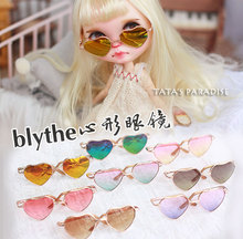 A heart-shaped semitransparent metallic glasses for Blythe doll 1/3 BJD DAL Pullip doll accessories photography tool