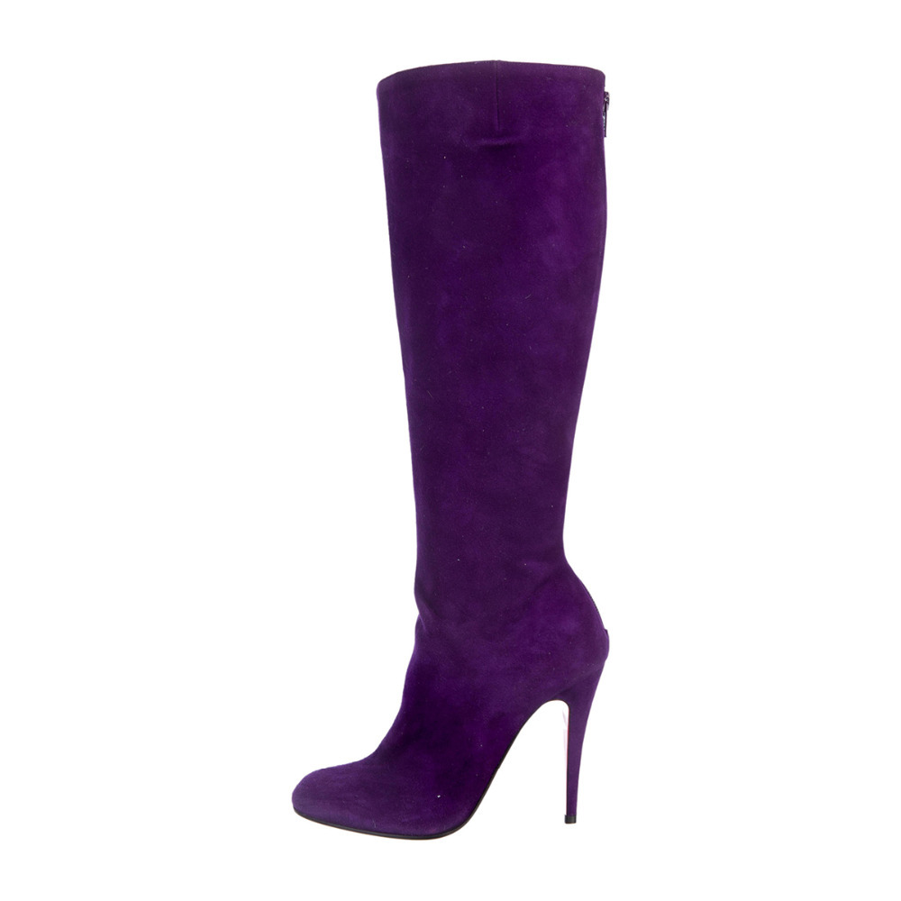 BC Purple suede boots with round toes, covered heels, and zip closure at counter<br><br>Aliexpress