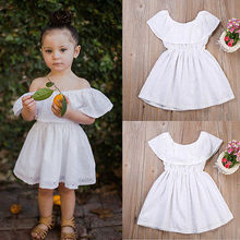 Solid Infant Baby Girls Clothes White Top Dress Off-shoulder  Party Gown Mini Dress Sundress