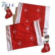 Zilue 1set/lot Lamb Flannel Christmas Socks Knife Fork Bag Tableware Sets Children Gift Red Cute Home Christmas Supplies(China)