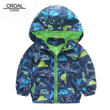 80-120cm Cute Animal Autumn Windbreaker Kids Jacket Boys Cute Dinosaur Baby Outerwear Coats Boys Kids Hooded Children Clothing