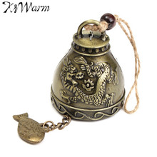 Fashion Zinc Alloy Dragons Wind Chime Ornament Feng Shui Blessing Bell Lucky Fortune Gift Home Car Hanging Decor Crafts 23x4.5cm
