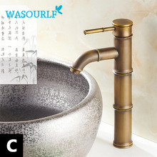 WASOURLF basin faucet vintage style Brass single handle mixed luxury gold kitchen tap bamboo special design bathroom(China)