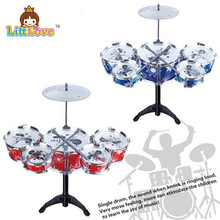 LittLove Children's Kid's Jazz Drum Set Musical Instrument Toy Playset with 5 Drums Cymbal Stand Drumsticks Toys For Children(China)