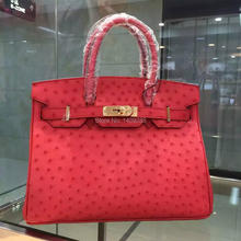 100% Genuine Ostrich Leather Skin Women shouder Bag, High end fine Quality ostroch skin Handbag Yellow/Pink/black/red(China)