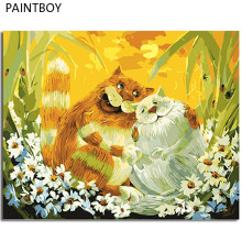 paintboy Cartoon Cat Frameles Oil Painting By Numbers DIY Oil Painting On Canvas Home Decor For Living Room 40*50cm GX3183(China)