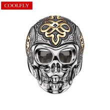 Gold Color Skull Rings Thomas Style Vintage Biker Viking Rings For Women & Men 2018 Ts Rebel Fashion Jewelry Punk Gifts Bague(China)