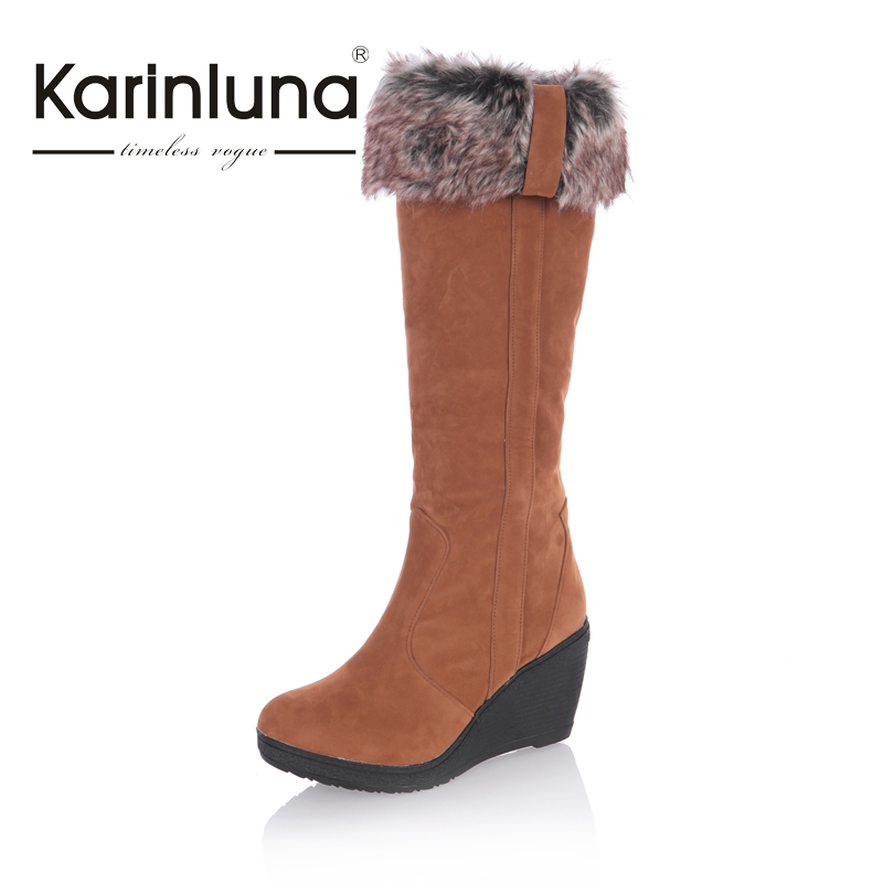 New Fashion Women Snow Boots Thick Keep Warm Fur Shoes Sexy high Heel Wedge Shoes Round Toe Platform Knee High Long Winter Boots<br><br>Aliexpress