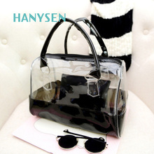 2017 New PVC Transparent Jelly Beach Bag Women's Casual Tote Bags Fashion Solid Muiltycolors Shoulder Bag Hot Sale Lady Handbags(China)