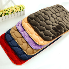 40x60cm 3D Pebbles Door Mat Coral Fleece Floor Carpet Anti Slip Kitchen Carpets Absorbent Bathroom Rugs Living Room Doormats